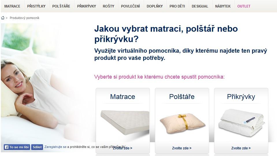 interaktivní průvodce, aneb jakou vybrat matraci, polštář nebo přikrývku?